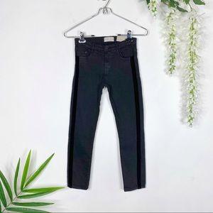 NWT ZARA KIDS black skinny jeans velvet stripe 849